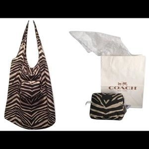 Coach Folding Black & White Zebra Print Nylon Tote